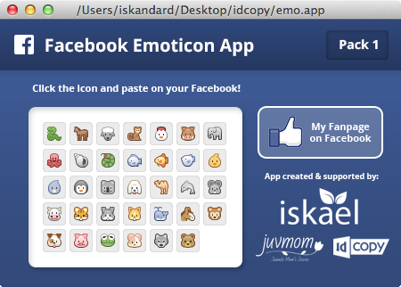 Tampilan Aplikasi Facebook Emoticon