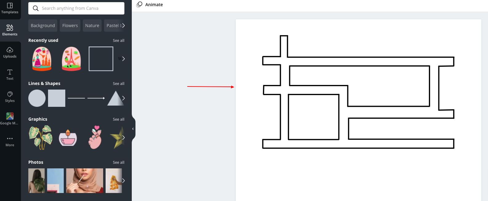 desain denah lokasi menggunakan canva